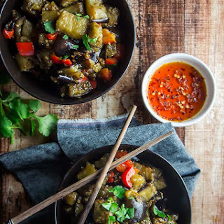 Eggplant & Red Pepper in Garlic Sauce.