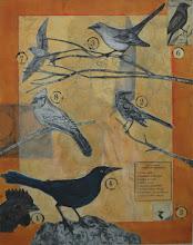 "Photo: Savage Birds, 24 x 19"", mixed media collage"
