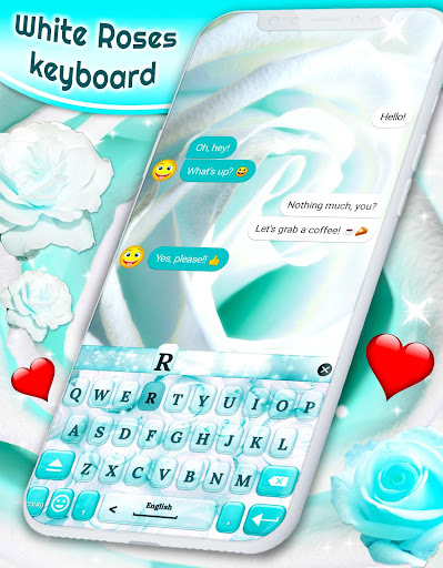 White Rose Keyboard 🌹 Beautiful Blue Roses Themes ss1