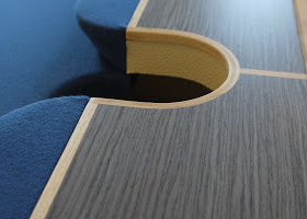 Arc Pool Table Middle Pocket with the wood painted black and the felt dark blue