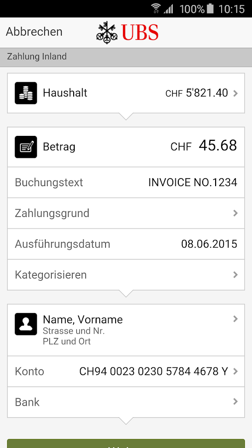 UBS Mobile Banking – Screenshot