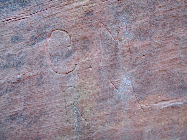C.M. and R.M. inscriptions in Red Wash