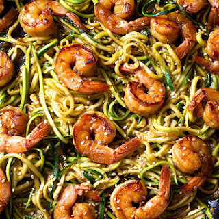 Stir Fry Teriyaki Shrimp and Zucchini Noodles.