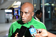 David Notoane (SA under 23 Coach) during the South Africa U/23 arrival press conference at OR Tambo International Airport on September 11, 2019 in Johannesburg, South Africa.