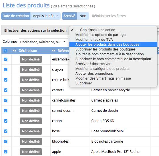 Vous pouvez également ajouter des produits sur un site de vente en ligne  depuis le module Catalogue et la liste des produits. d2e189485334