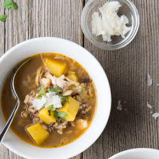 Chicken and Wild Rice Soup with Acorn Squash
