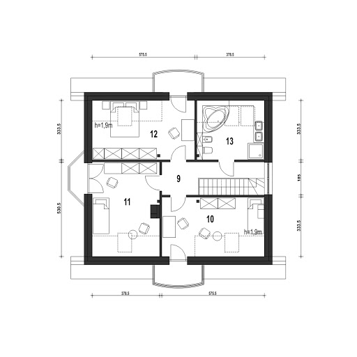 Dom Dla Ciebie 1 w3 bez garażu B - Rzut poddasza