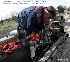 Photo: Clyde Brown working on the horn of the ALCO PA.   HALS Work Day 2015-0117 © 2015 Rick White