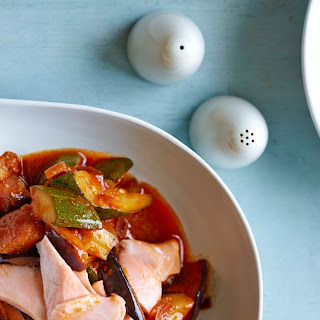 Quick Poached Salmon With Speedy Rat-Atat-A-Touille