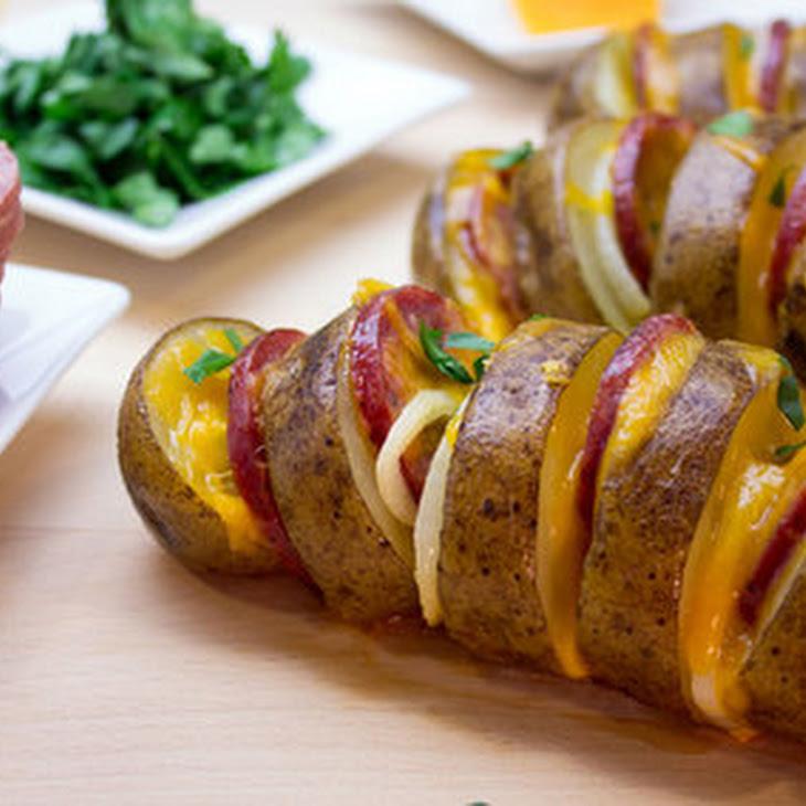 Roasted Potato & Summer Sausage Fans Recipe