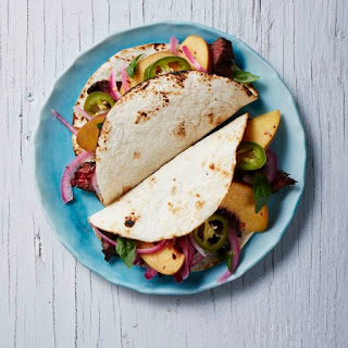 Grilled Steak Tacos with Pickled Peach and Onion