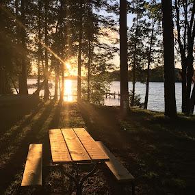 Sunset over the lake by Debra Rebro - Landscapes Sunsets & Sunrises (  )