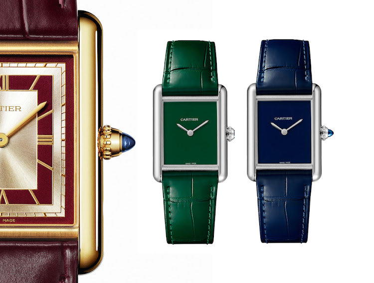Cartier Tank LC and Tank Must watches presented in the colours of 2021.