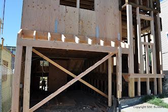 Photo: New garage roof framing.