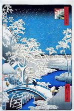 """Photo: Utagawa Hiroshige, """"Drum bridge a Meguro e Sunset Hill"""" (1854)"""