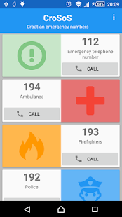 CroSoS - emergency numbers- screenshot thumbnail