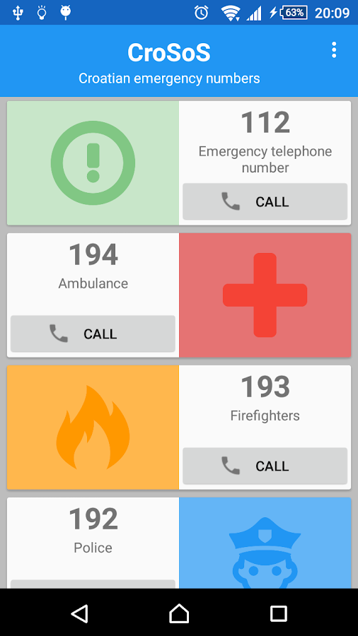 CroSoS - emergency numbers- screenshot