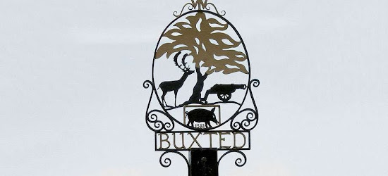 a buxted lamp post sign