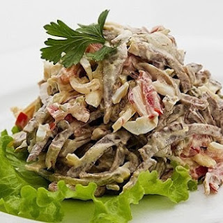 Salad With Tongue And Pickled Mushrooms