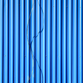 Wire by Anatoliy Kosterev - Abstract Patterns ( wire, blue, pattern, iron, shadows, abstract )