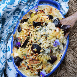 Fig Brie Blue Cheese Pasta Bake.