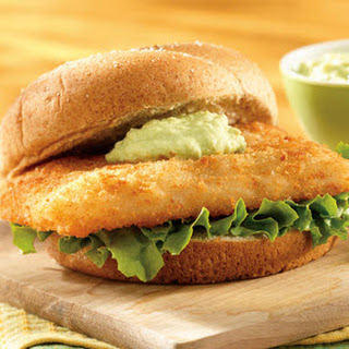Fish Sandwich with Creamy Avocado Sauce.
