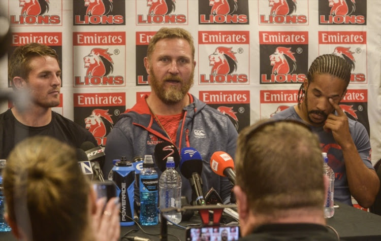 Coach Johan Ackermann of the Lions with Captain Jaco Kriel of the Lions and Courtnall Skosan of the Lions during the Emirates Lions team announcement at Emirates Airline Park on August 03, 2017 in Johannesburg.
