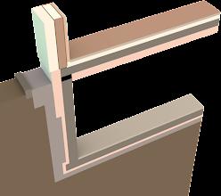 Photo: Dreidimensionaler Ausschnitt des unkonditionierten Kellers mit Außenwand in der Höhe von 1m ab Fußbodenoberkante. Geschnitten mittig durch die Holzständer, in einem Achsabstand von 62,5cm