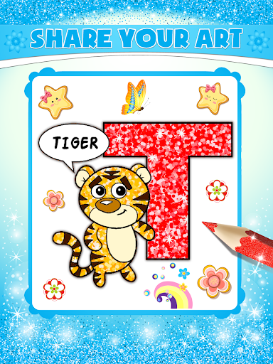 Glitter Number and letters coloring Book for kids screenshot 14