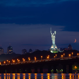 The Paton Bridge by Oleg Utyuzh - City,  Street & Park  Night ( moon, sunset, bridge, river, kiev )