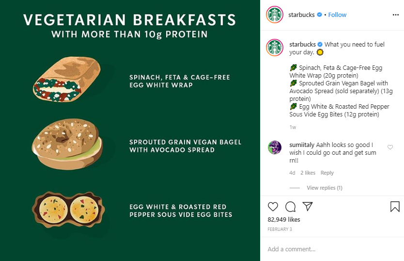 Social media post idea – Starbucks presents its new menu by using graphic illustration