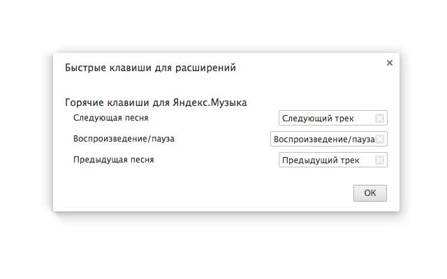 Горячие клавиши для Яндекс.Музыка