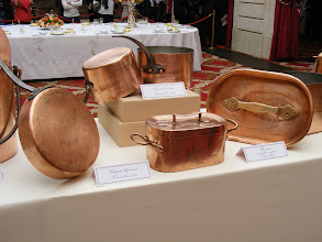 Photo: Copper cookware - with some pieces well over 100 years old - is on display.