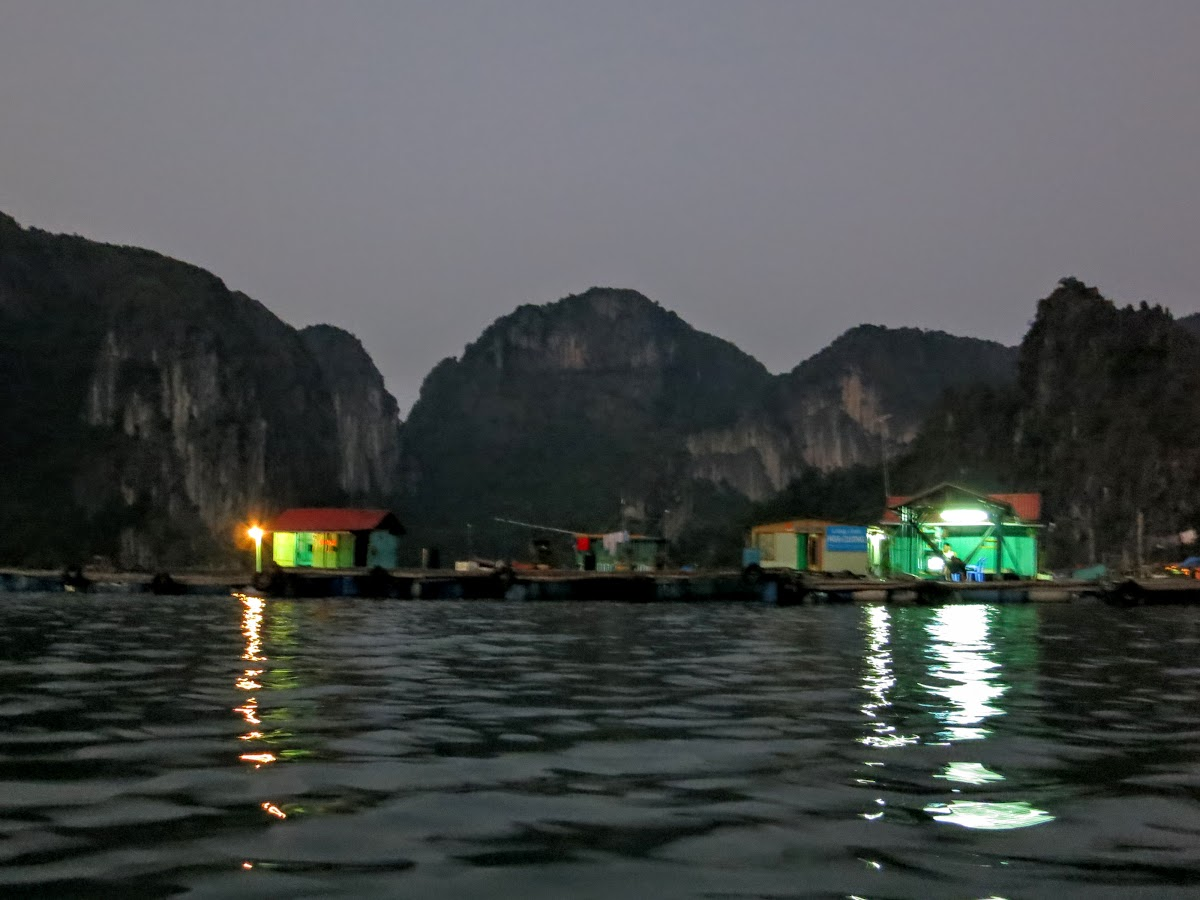 Small fishing village at night