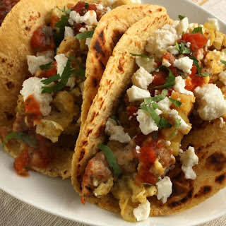 Chorizo and Potato Breakfast Tacos.