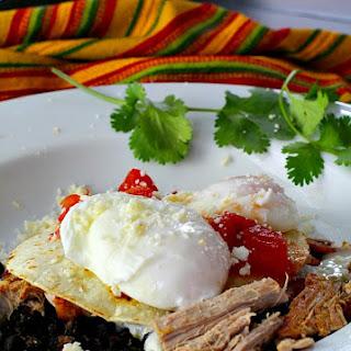 Achiote Pulled Pork and Black Bean Huevos Rancheros, #Sundaysupper.