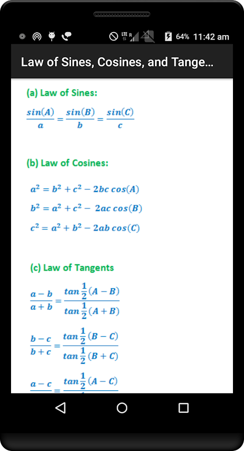 Trigonometry Quick Reference- screenshot