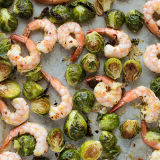 Roasted Shrimp and Brussels Sprouts.