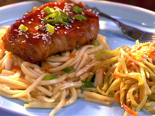 Pork Chops With Orange Soy Glaze And Udon Noodles Recipe
