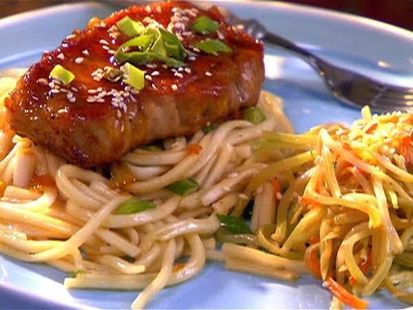 Pork Chops With Orange Soy Glaze And Udon Noodles