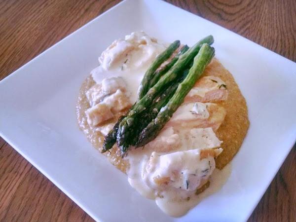 Mustard Chicken W Cheesy Quinoa & Fried Asparagus Recipe