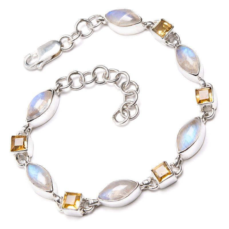 Regnbågsmånsten och citrin, armband i silver