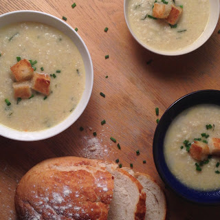 Homemade Cauliflower Cheese Soup with Croutons.
