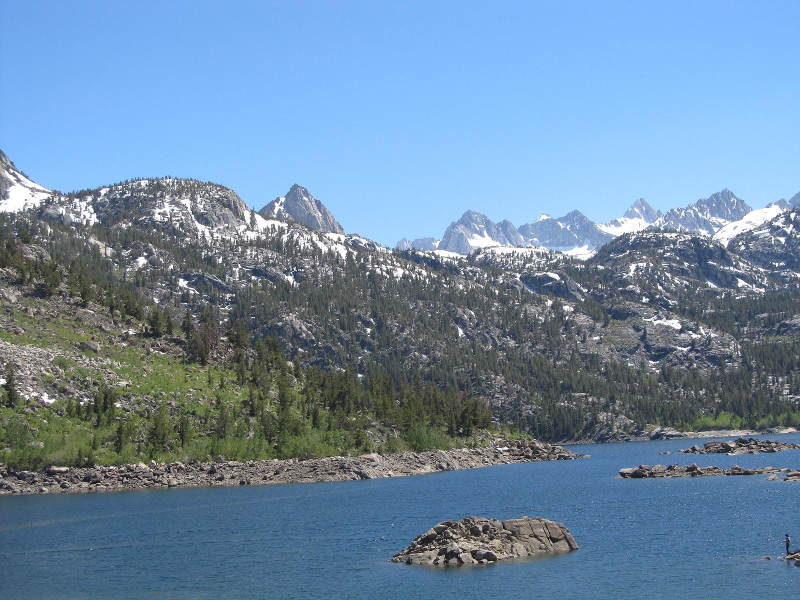 Bicycling South Lake - lake and mountains