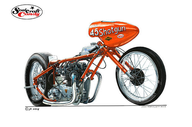 Drag Triumph recomandé par le Vintage DRag Bike French Association, présenté par Machines et Moteurs spécialiste en motos anglaise classique.