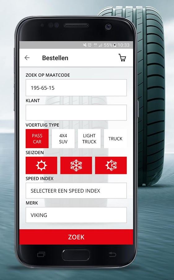 Inter-Sprint Tyre Order App- screenshot