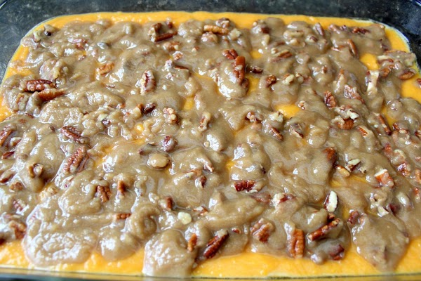 "Pour potato mixture into a 9"" X 13"" buttered casserole dish. Sprinkle topping over..."