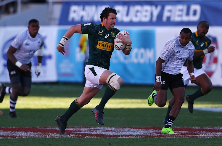 Ruhan Nel of South Africa in action for the Blitzboks.