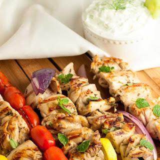 Greek Lemon Chicken Kabobs with Tzatziki