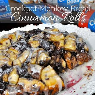 Crockpot Monkey Bread Cinnamon Rolls with Cherries